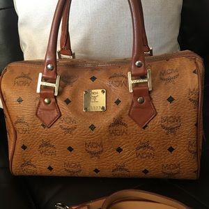 Auth mcm Boston handle bag included long strap